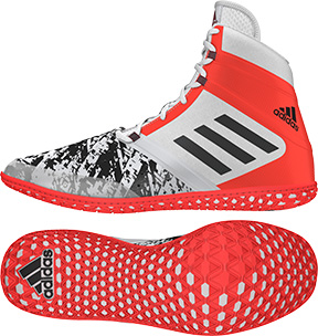 adidas Impact™ Wrestling Shoes, color: White/Black/Red