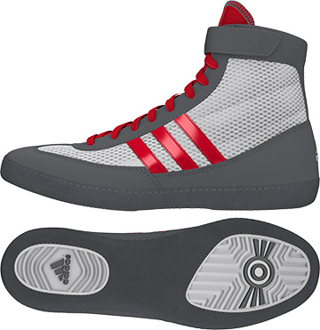Adidas Combat Speed 4 Wrestling Shoes, color: White/Red/Grey