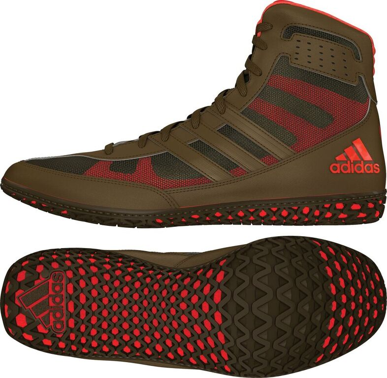 adidas Mat Wizard Wrestling Shoe, color: Olive Green/Orange
