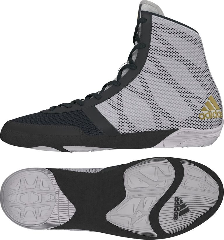 adidas Pretereo III Wrestling Shoes, color: Grey/Gold/White