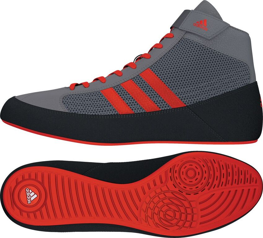 NEW!! Adidas HVC 2 Wrestling Shoes, color: Grey/Solar Red/Grey