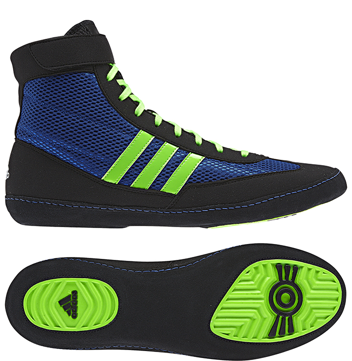 Adidas Combat Speed 4 Wrestling Shoes, color: Blue/Lime/Black