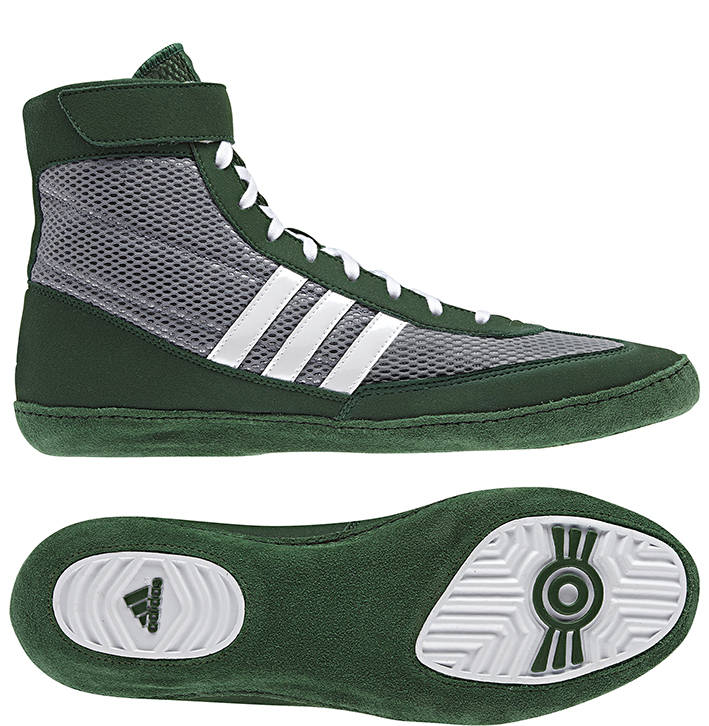 Adidas Combat Speed 4 Wrestling Shoes, color: Grey/Green/White ...