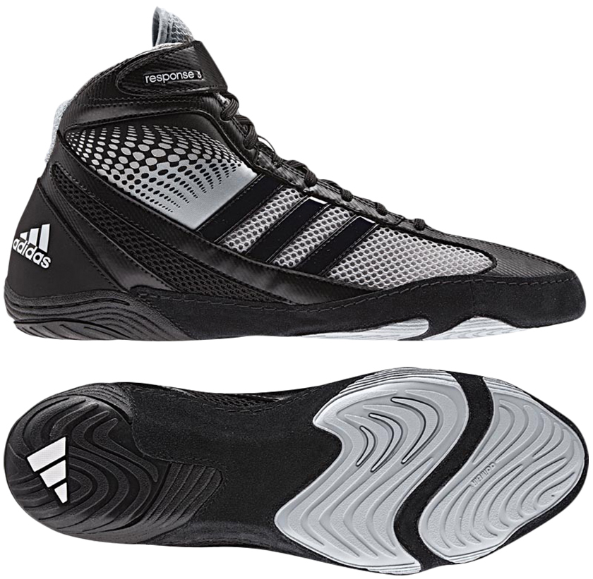 Adidas Response 3.1 Wrestling Shoes, color: Black/Silver/Black