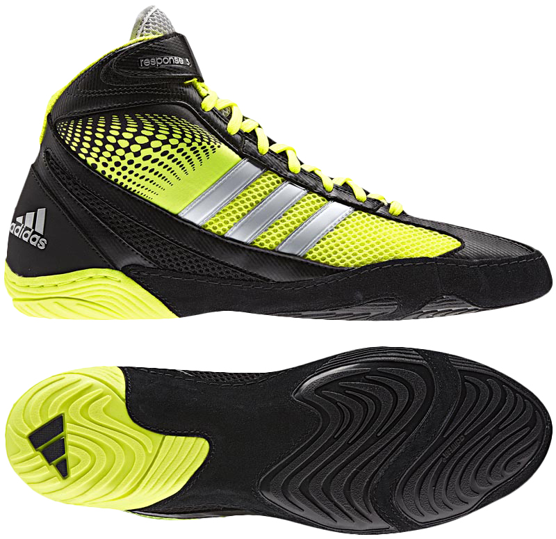 Adidas Response 3.1 Wrestling Shoes, color: Black/Elect/Silver - Click Image to Close