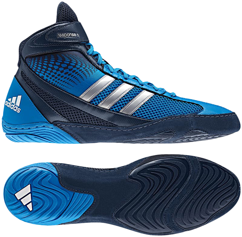 Adidas Response 3.1 Wrestling Shoes, color: Blue/Navy/Silver