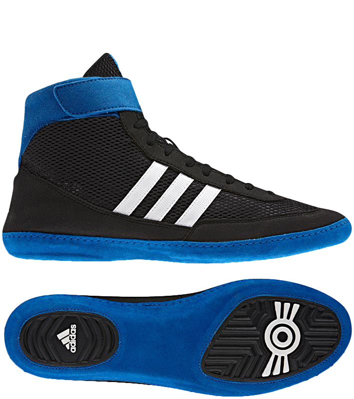 Adidas Combat Speed 4 Wrestling Shoes, color: Black/White/Blue