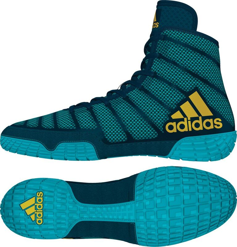 adiZero™ Varner II Wrestling Shoes, color: Aqua/Yellow/Blue