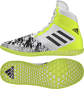 adidas Impact™ Wrestling Shoes, color: White/Black/Yellow - Click Image to Close