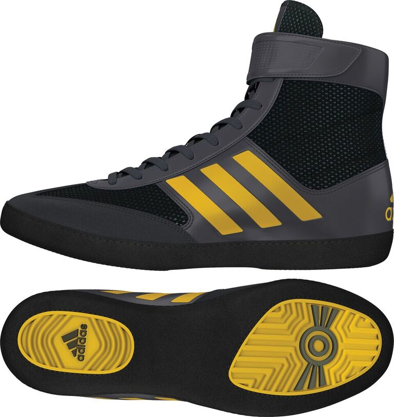 Adidas Combat Speed 5 Wrestling Shoes, color: Grey/Yellow/Black