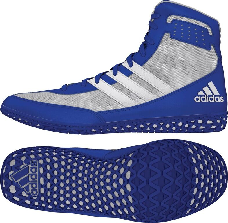adidas Mat Wizard Wrestling shoe, color: Royal/White/Grey