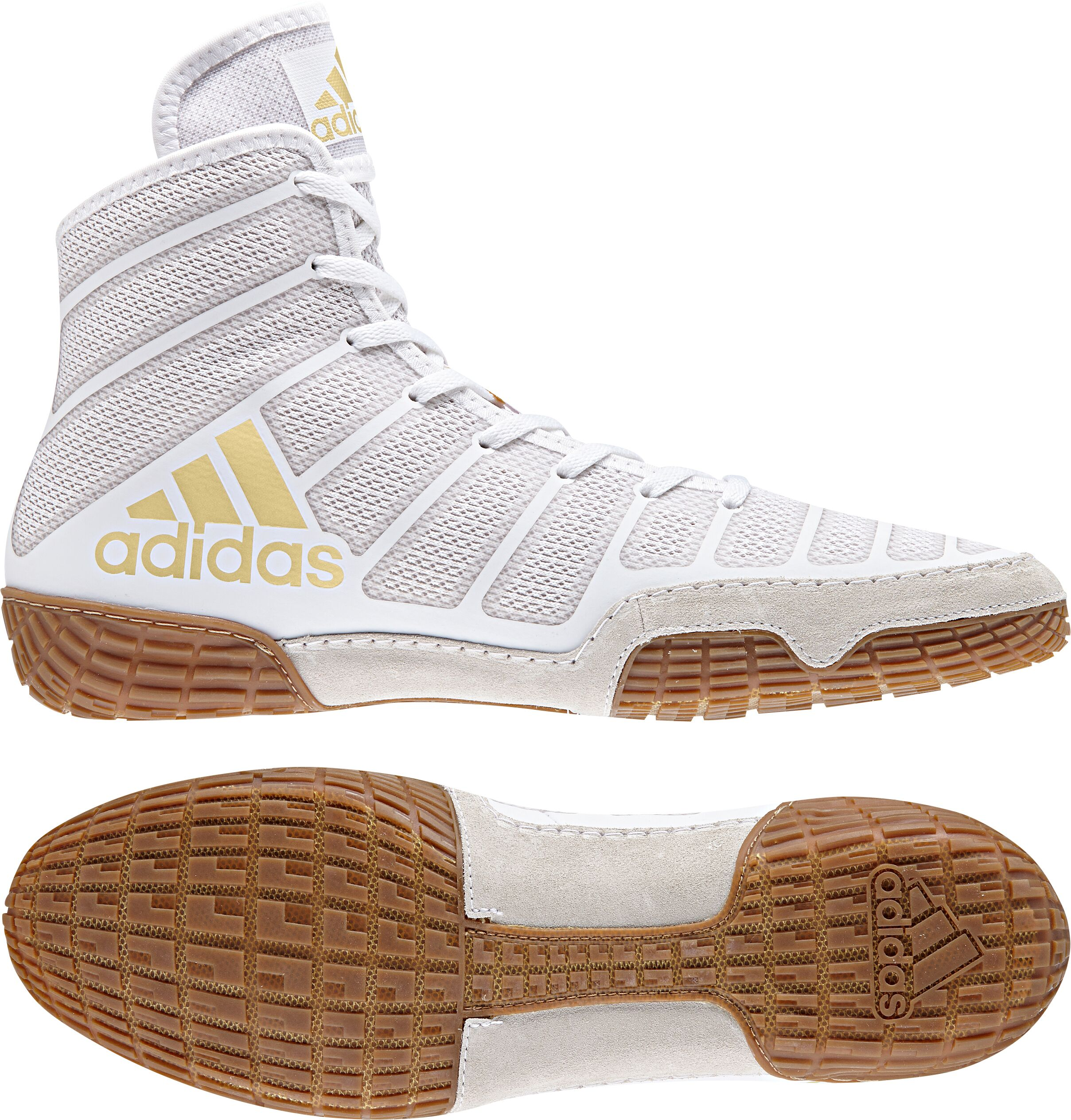 adiZero™ Varner II Wrestling Shoes, color: White/Vegas Gold/Gum