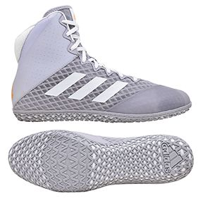 NEW!! adidas Mat Wizard 4 Wrestling Shoe, color: Grey/White