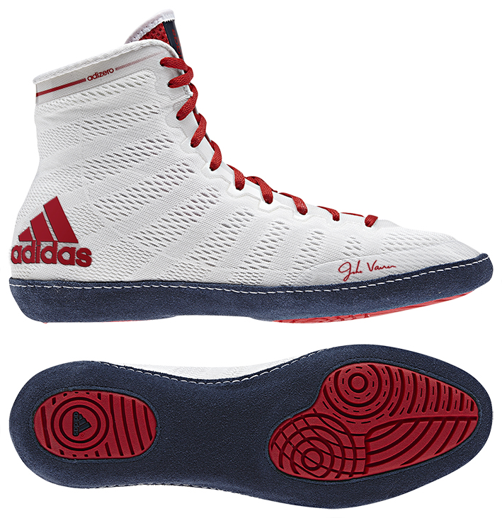 adidas adizero™ Varner Wrestling Shoes, color: Wht/Navy/Red