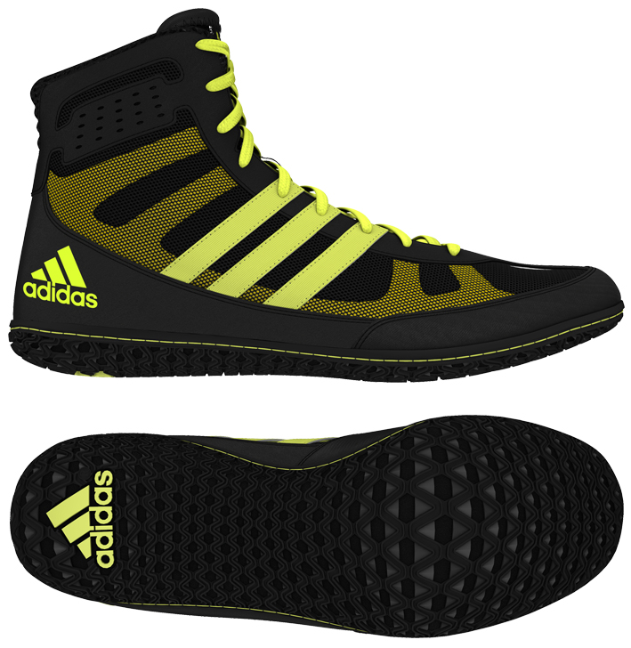 adidas Mat Wizard Wrestling shoe, color: Black/Solar Yellow