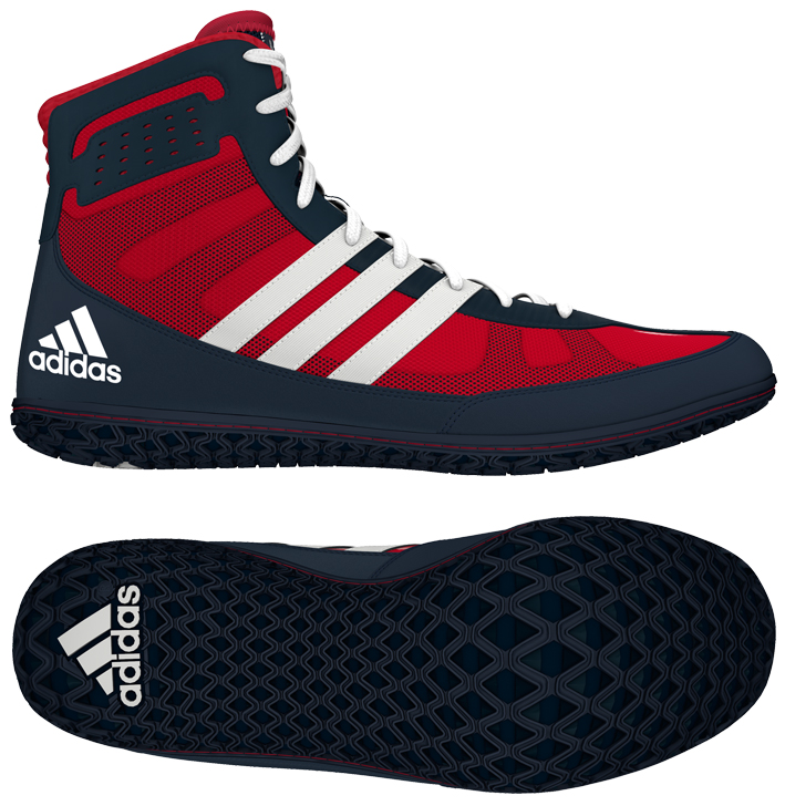 adidas Mat Wizard Wrestling shoe, color: Red/White/Navy