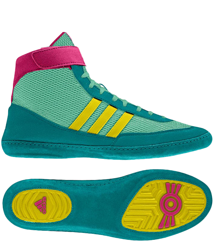 Adidas Combat Speed 4 Wrestling Shoes, color: Teal/Yellow/Pink
