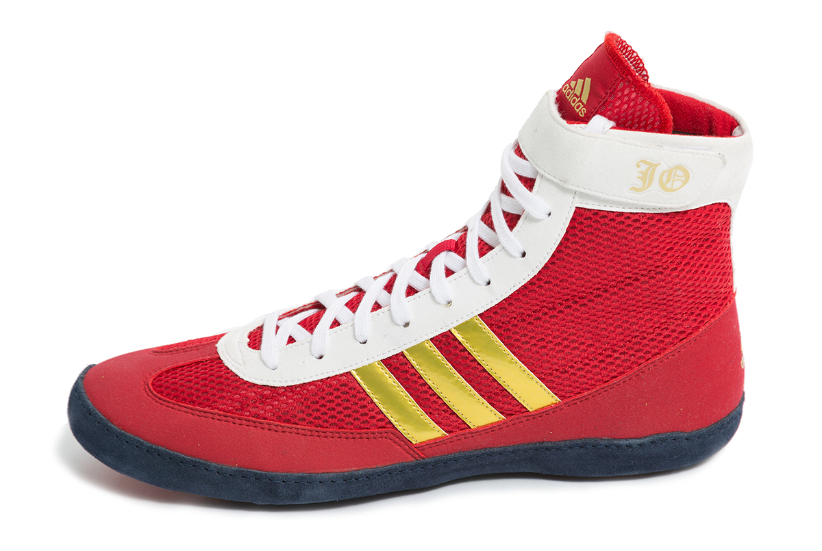 adidas JO Combat Speed Wrestling Shoes, color: Red/White/Gold
