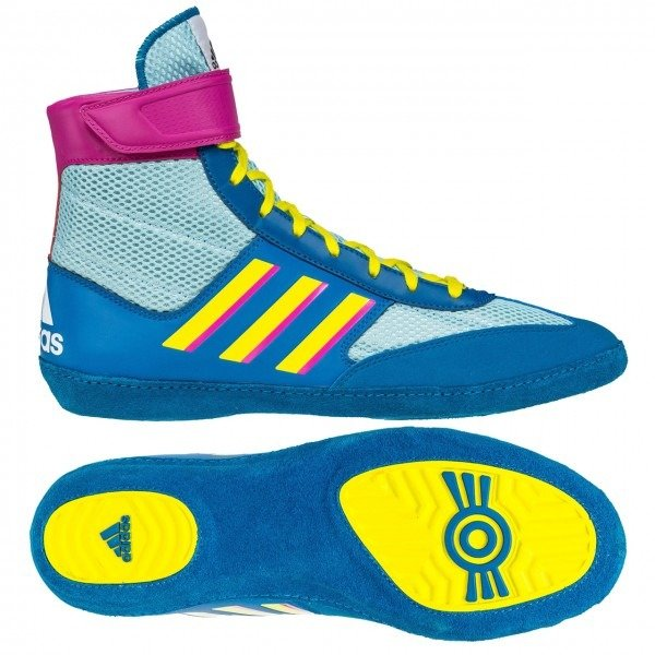 Adidas Combat Speed 5 Wrestling Shoes, color: Aqua/Yellow/Teal