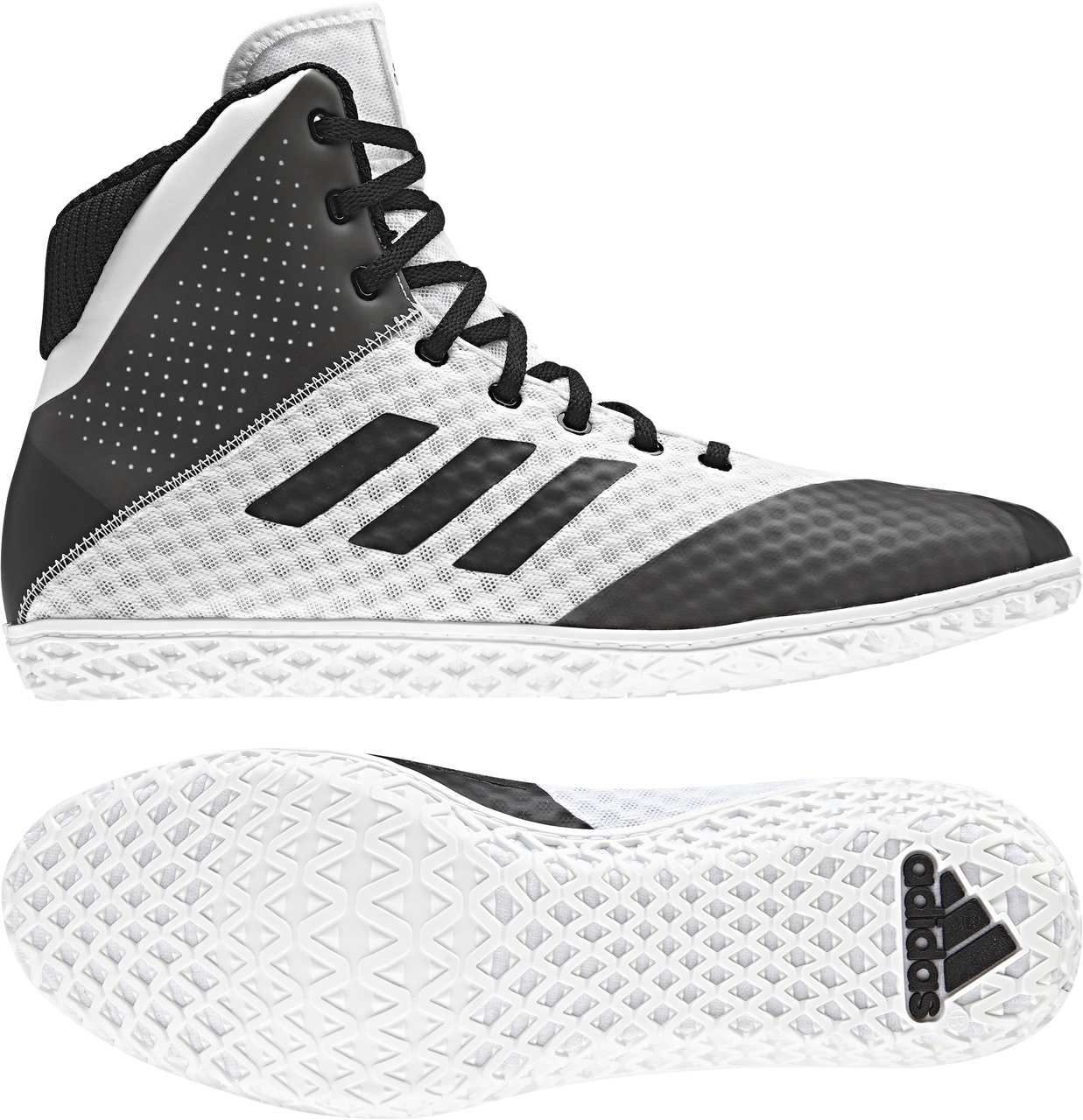 adidas Mat Wizard 4 Wrestling Shoe, color: White/Black