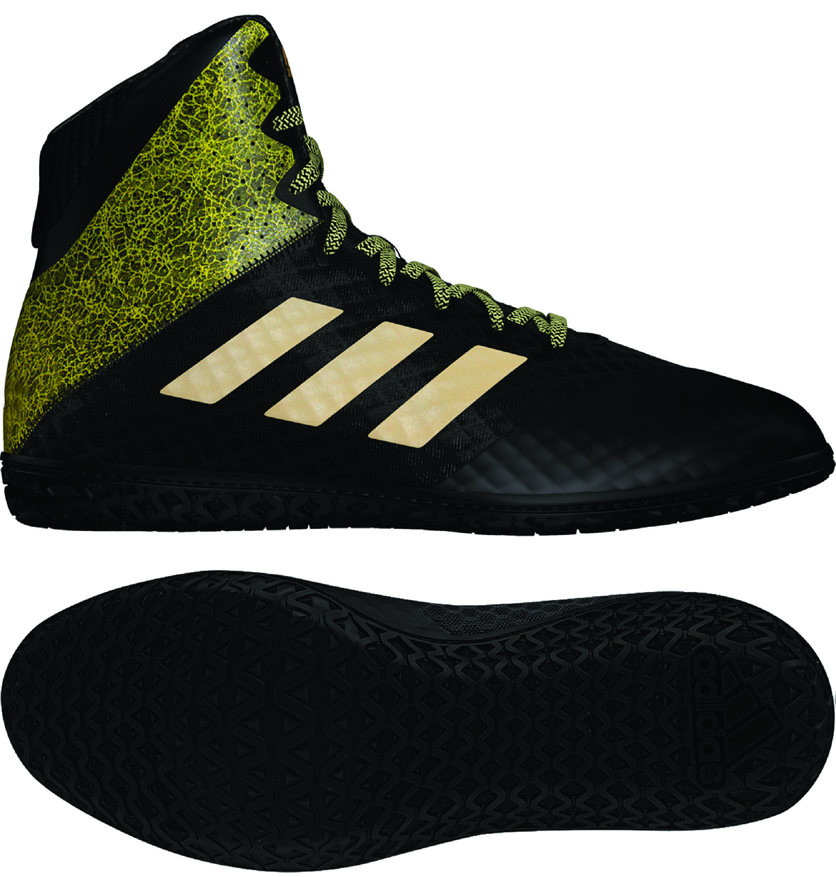 NEW! adidas Mat Wizard Hype Wrestling Shoes, color: Black/Gold