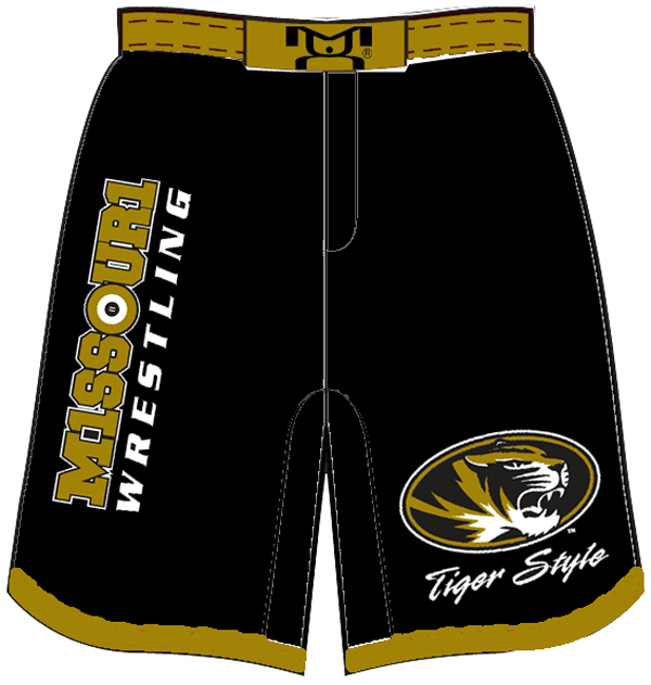 Missouri Wrestling MMA Style Shorts, color: Black/Gold