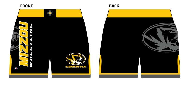 Mizzou Wrestling MMA Style Shorts, color: Black/Gold/Grey