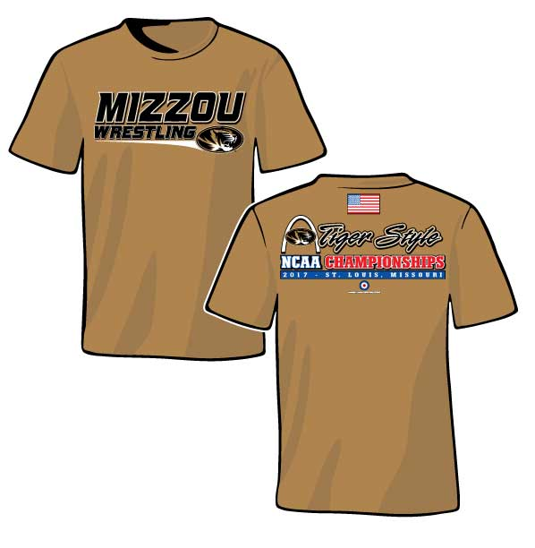NCAA MIZZOU Wrestling / USA Flag S/S T-Shirt, color: Old Gold